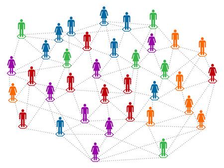 Networt concept, different color community, population, men and women linked together Illustration