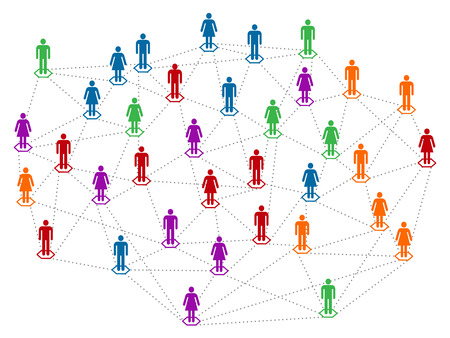 Networt concept, different color community, population, men and women linked together Ilustrace