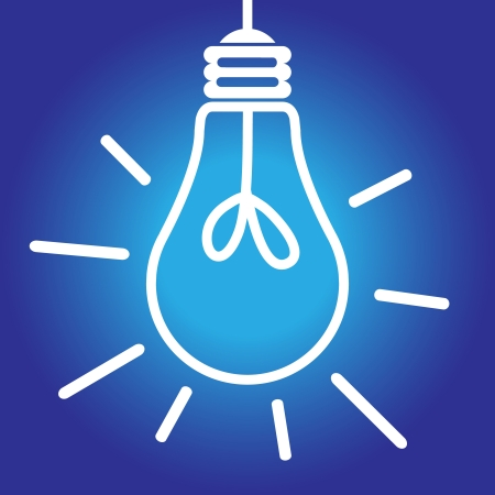 Lit lightbulb icon white on blue, bright idea, inspiration concept 矢量图像