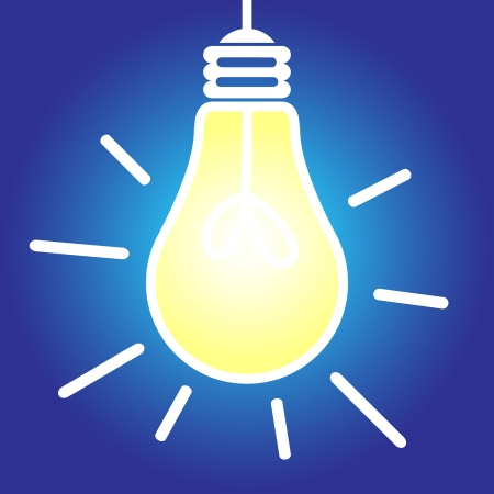 Lit lightbulb icon, bright idea, inspiration concept