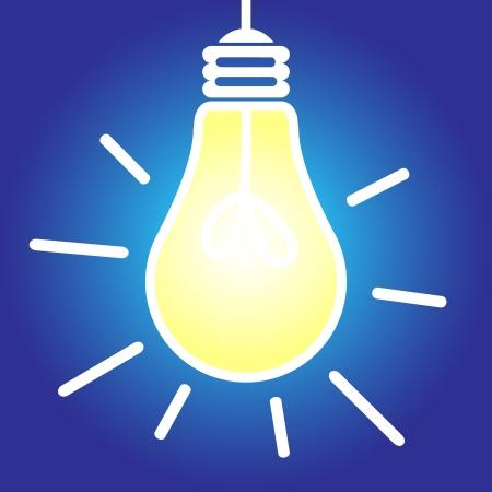 Lit lightbulb icon, bright idea, inspiration concept