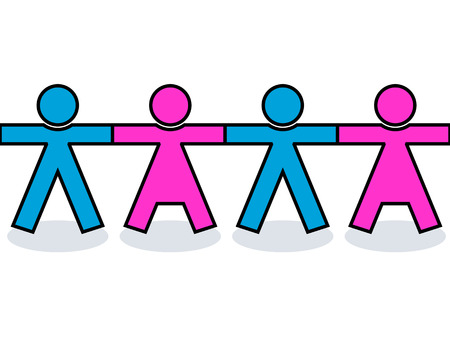 welfare: Seamless graphic united men and women people icons or silhouettes in blue and pink, holding hands for strength