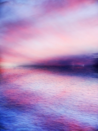airy: Beautiful pink sunset, airy or heavenly, reflected on the water