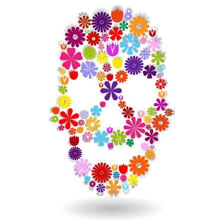 Skull shape made of many colorful flowers with shadow on white, dia de los muertos Illustration