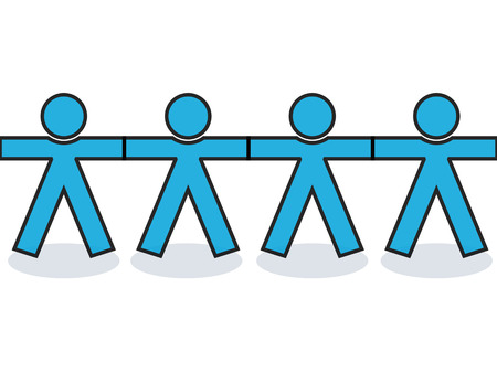 barrage: Seamless graphic united people icons or silhouettes in blue, holding hands for strength