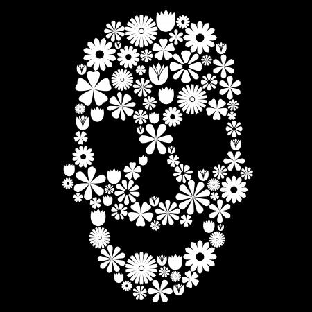 Skull shape made of many white flowers on black, contrast concept Ilustração