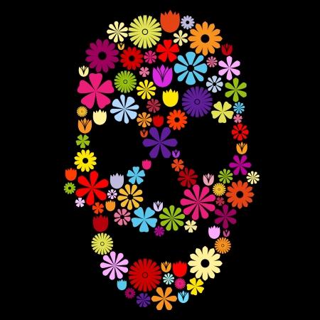 dise�os: La forma del cr�neo hecha de muchas flores de colores en negro, el concepto de contraste