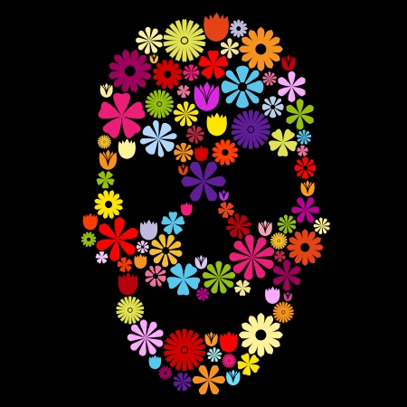 Skull shape made of many colorful flowers on black, contrast concept