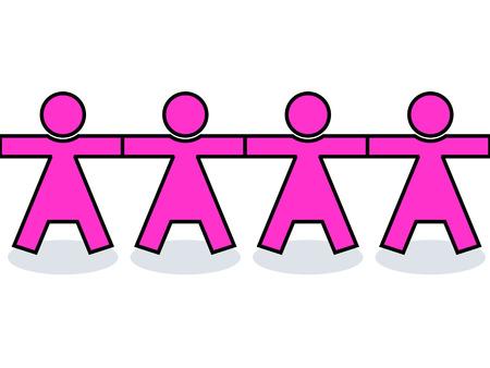 원활한 그래픽 미국 여성 아이콘 또는 실루엣 분홍색, 강도에 대 한 손을 잡고 스톡 콘텐츠 - 24094990
