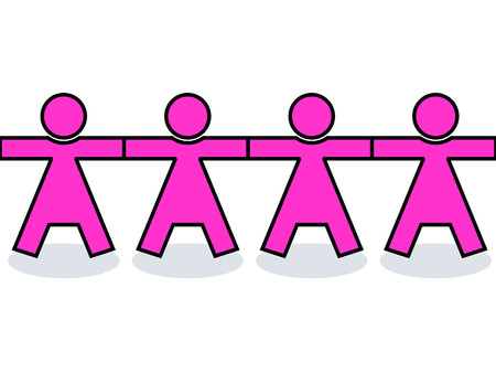 unity is strength: Seamless graphic united women icons or silhouettes in pink, holding hands for strength Illustration