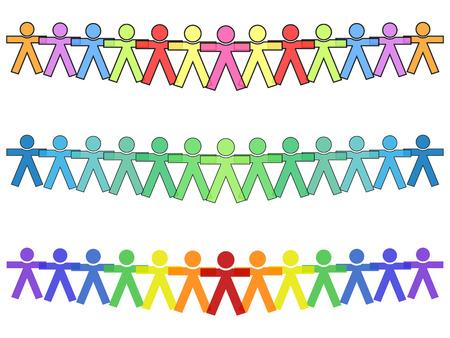 Iconos de la gente o de las siluetas Unidas en colores, de la mano de la fuerza con el texto Ilustración de vector