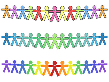United people icons or silhouettes in colors, holding hands for strength with text Vetores