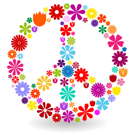 symbol: Peace sign or symbol made by colorful flowers with shadow on white