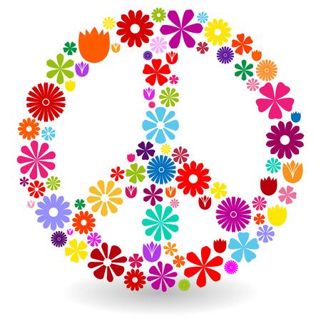 Vredes teken of symbool gemaakt door kleurrijke bloemen met schaduw op wit