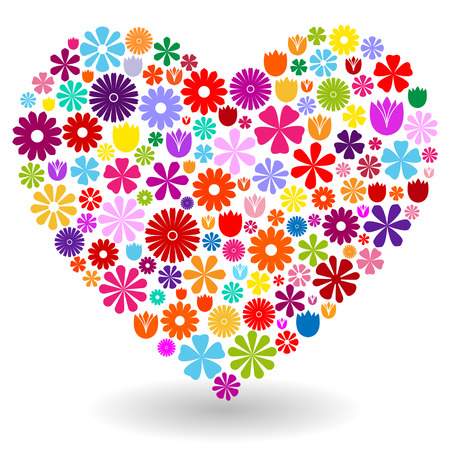 Heart shape made by colorful flowers with shadow on white