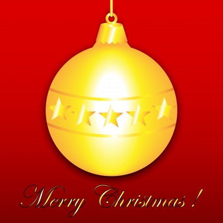 hollies: Gold Christmas ornament with stars on red, Merry Christmas greeting card