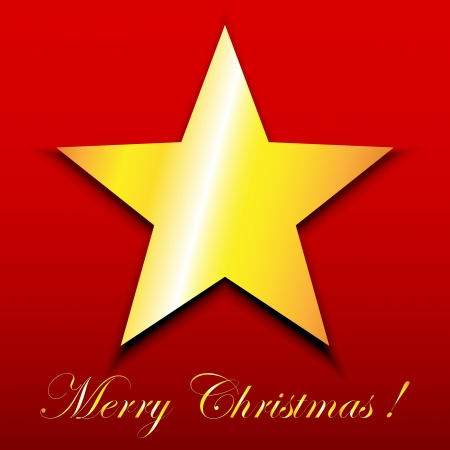 hollies: Gold star on red Merry Christmas greeting card