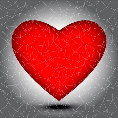 haert: Heart shape with small mosaic tiles, broken haert concept