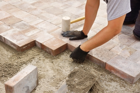 Man or trade worker installing paver stone in the backyard