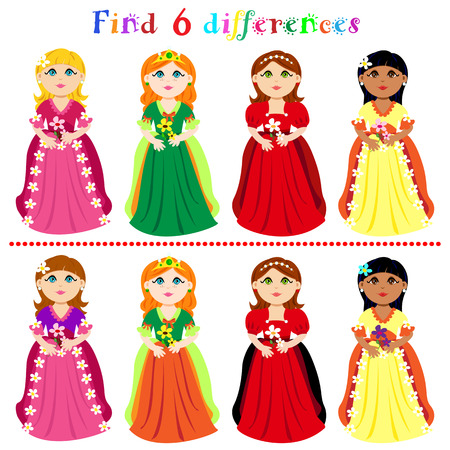 Find 6 difference game or visual puzzle: princesses with ball gown