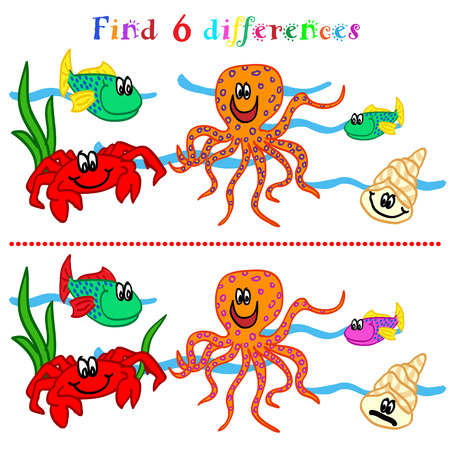 Find 6 difference game or visual puzzle: marine life