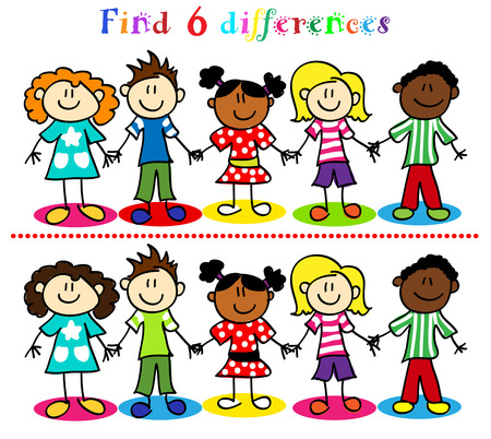 Find 6 difference game or visual puzzle: stick figure cartoon kids, little boys and girls, ethnic diversity. Vector