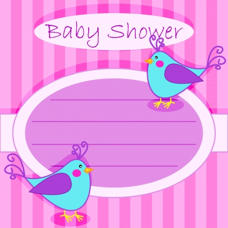 Girl baby shower cute blue little birds invitation card over girl baby shower cute blue little birds invitation card over pink stripes stock vector filmwisefo
