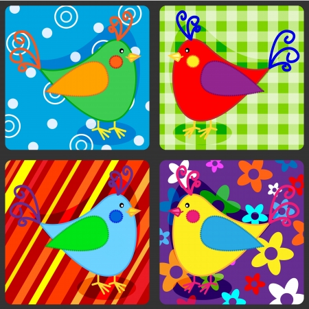 Seamless patchwork pattern with colorful birds Vector