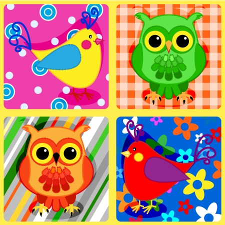 Seamless patchwork pattern with colorful owls and other birds Vector