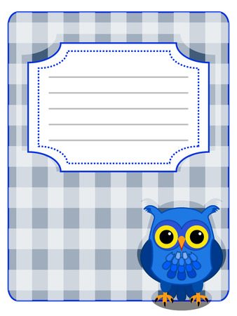 gingham pattern: Blue owl on grey gingham pattern with design label Illustration