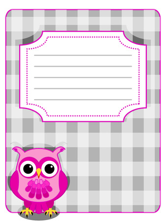 gingham pattern: Pink owl on grey gingham pattern with design label