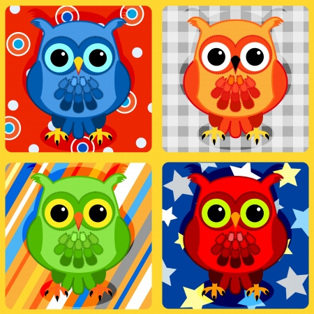 owl illustration: Seamless patchwork pattern with colorful owls on plaid, stripes, bubbles and stars