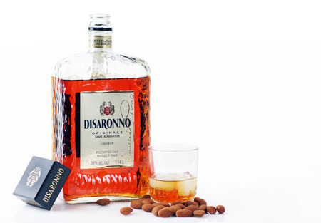 CANADA, QUEBEC, JANUARY, 6, 2014 Disaronno Amaretto liquor is an imported almond flavored alcohol from Italy