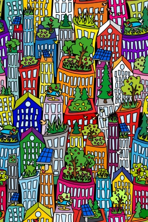 future: Fun seamless cityscape pattern with tall buildings and skyscrappers, green roofs and solar pannels