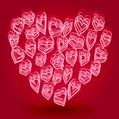 Layered doodle heart shapes forming heart, Valentine card or love concept