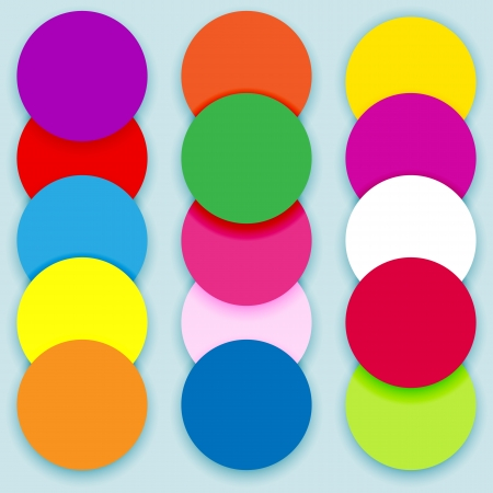 Fun and colorful circles, layered with shadows, labels for text