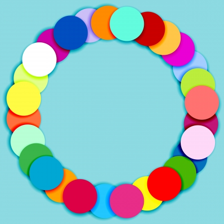 Round frame made of overlaid multicolor circles on blue background