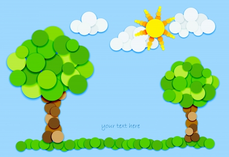 Fun trees, sun and clouds made of color circles with shadows on blue background Illustration