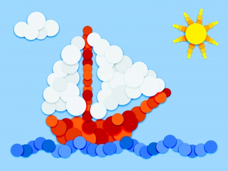 Fun landscape, sailboat and water made of color circles with shadows on blue background