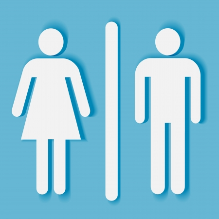Bathroom or toilet sign and symbol: man and woman silhouette with shadow Illustration