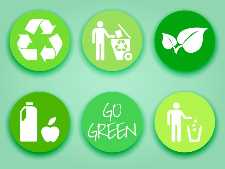 Green stickers or labels, recycling symbol, leaves, recycle, trash, wholosome food, flat tags Vector