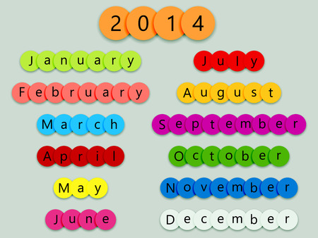 2014 months on multicolor circles with shadows on grey background