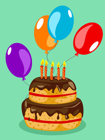 festive occasions: Fun chocolate birthday cake with balloons over green background Illustration