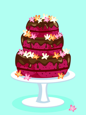 Red velvet cake with chocolate icing and flowers: birthday, wedding or other celebration Vectores