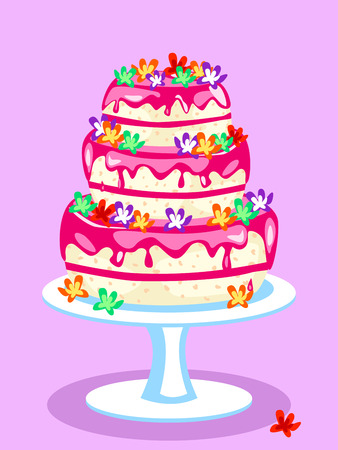 Vanilla cake with pink icing and flowers: birthday, wedding or other celebration Vector