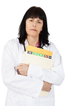 Female doctor with patient file looking at camera, isolated on white Stock Photo - 27429145