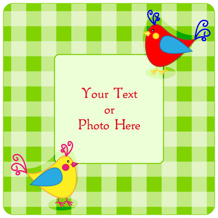 baby picture: Cute green plaid frame with little birds and copy space