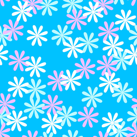 Fun seamless flower or floral pattern over blue