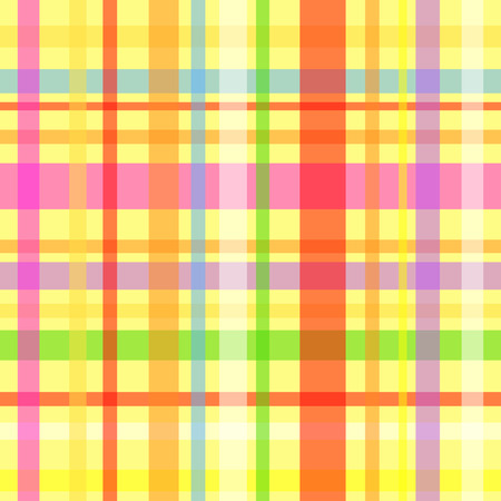 Seamless plaid or gingham pattern, multicolor stripes over yellow