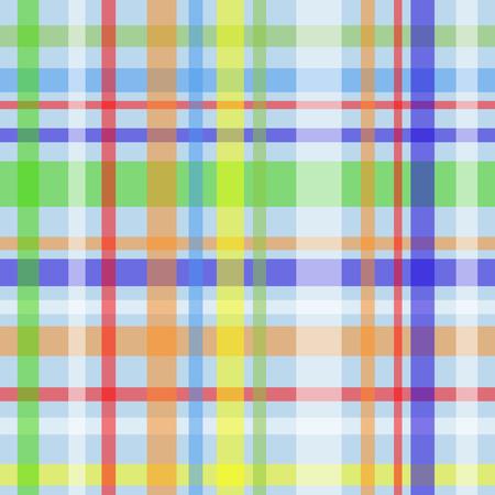 gingham pattern: Seamless plaid or gingham pattern, multicolor stripes over blue Illustration